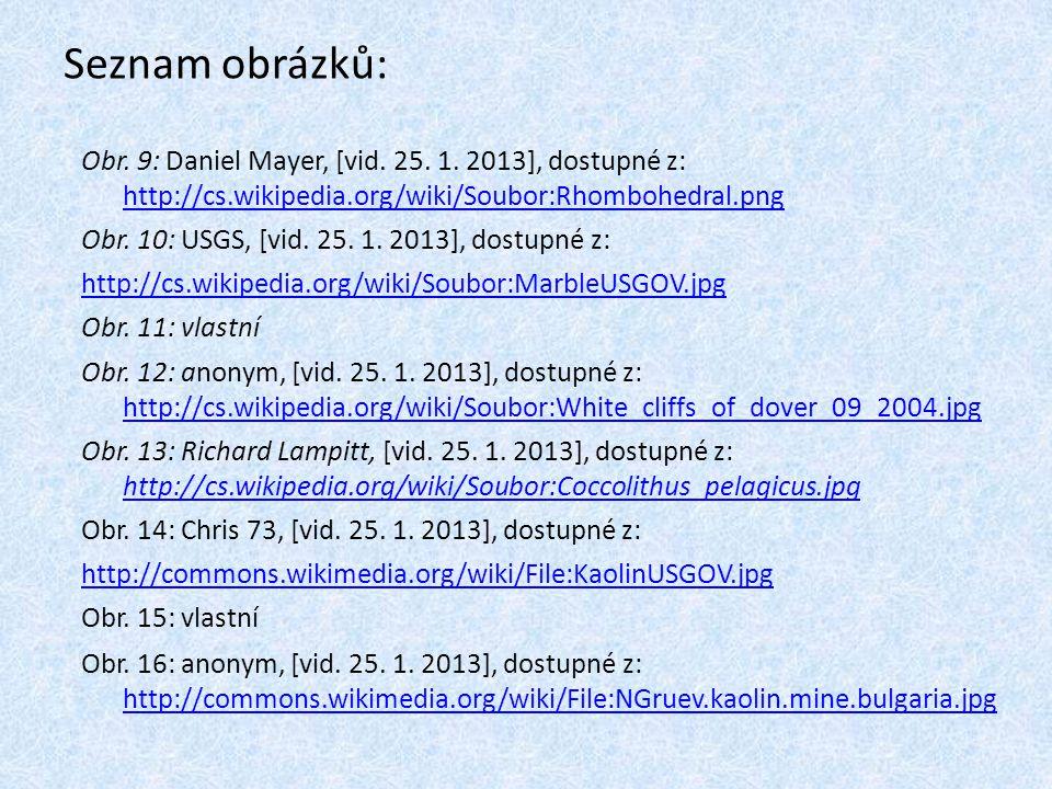 Seznam obrázků: Obr. 9: Daniel Mayer, [vid. 25. 1. 2013], dostupné z: http://cs.wikipedia.org/wiki/Soubor:Rhombohedral.png.